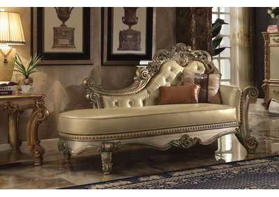 Vendome Gold Patina & Bone PU Chaise w/2 Pillows