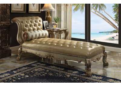 Dresden Gold Patina & Bone PU Chaise w/1 Pillow