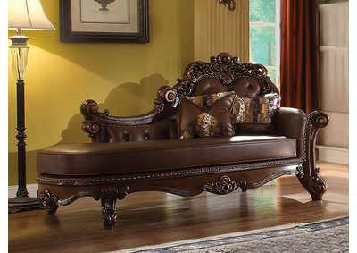 Vendome PU & Cherry Chaise w/2 Pillows