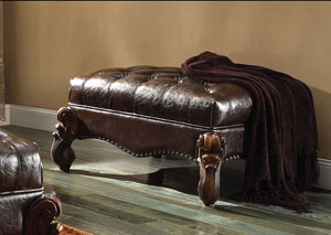 Versailles 2Tone Dark Brown PU & Cherry Oak Ottoman