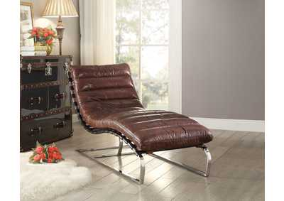 Qortini Vintage Dark Brown TGL & Stainless Steel Chaise