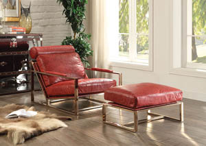 Quinto Antique Red TGL & Stainless Steel Accent Chair