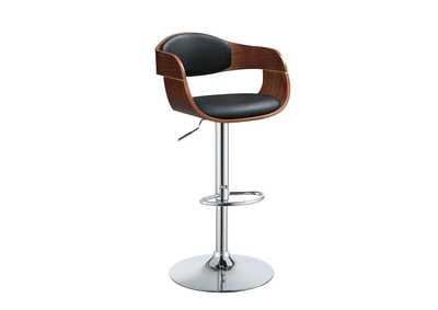 Camila Black Leather Backed Adjustable Stool w/Angled Arms