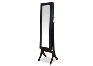 Hylda Black Jewelry Armoire (Floor Mirror)