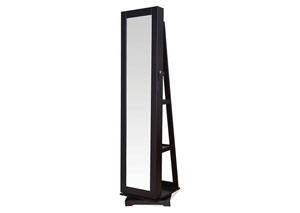 Jazi Espresso Jewelry Armoire (Floor Mirror)