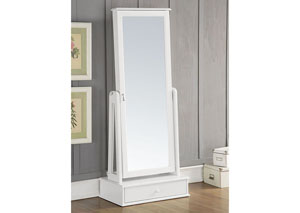 Traci White Jewelry Armoire (Floor Mirror)