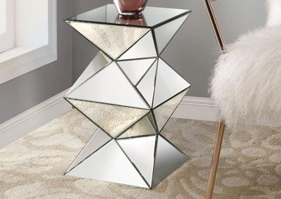 Nyoka Mirrored Pedestal Side Table