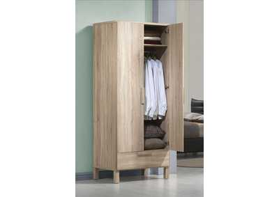 Odella Light Oak Wardrobe w/1 Drawer