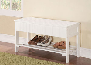 Xio White Bench w/Storage
