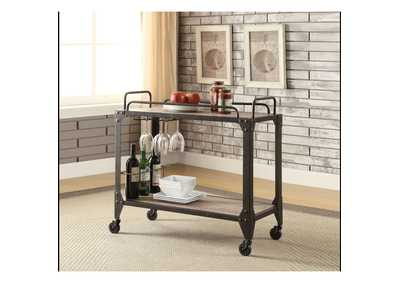 Image for Caitlin Rustic Oak & Black Serving Cart