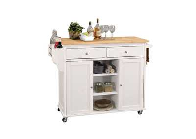 Tullarick White w/Wooden Top Kitchen Cart