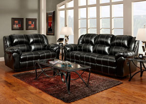 Taos Black Reclining Loveseat
