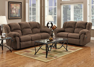 Aruba Chocolate Reclining Loveseat
