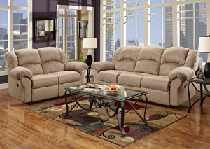 Sensationas Camel Reclining Loveseat