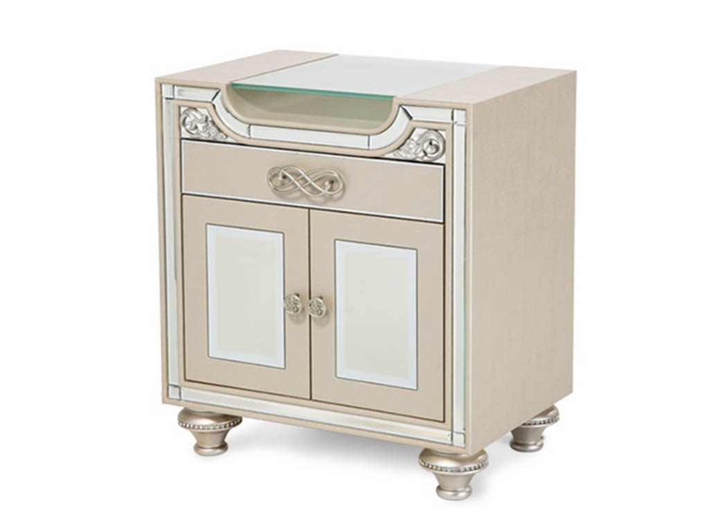 bel air park upholstered champagne nightstand aico
