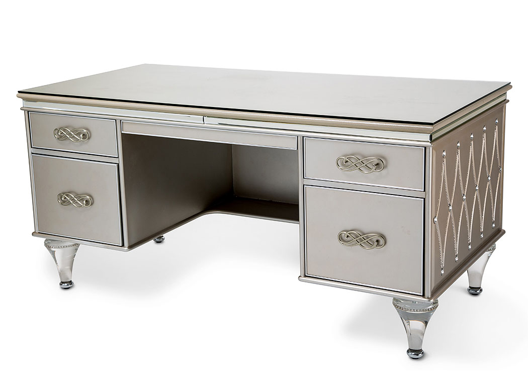 Bel Air Park Champagne Desk W/Glass Top,AICO