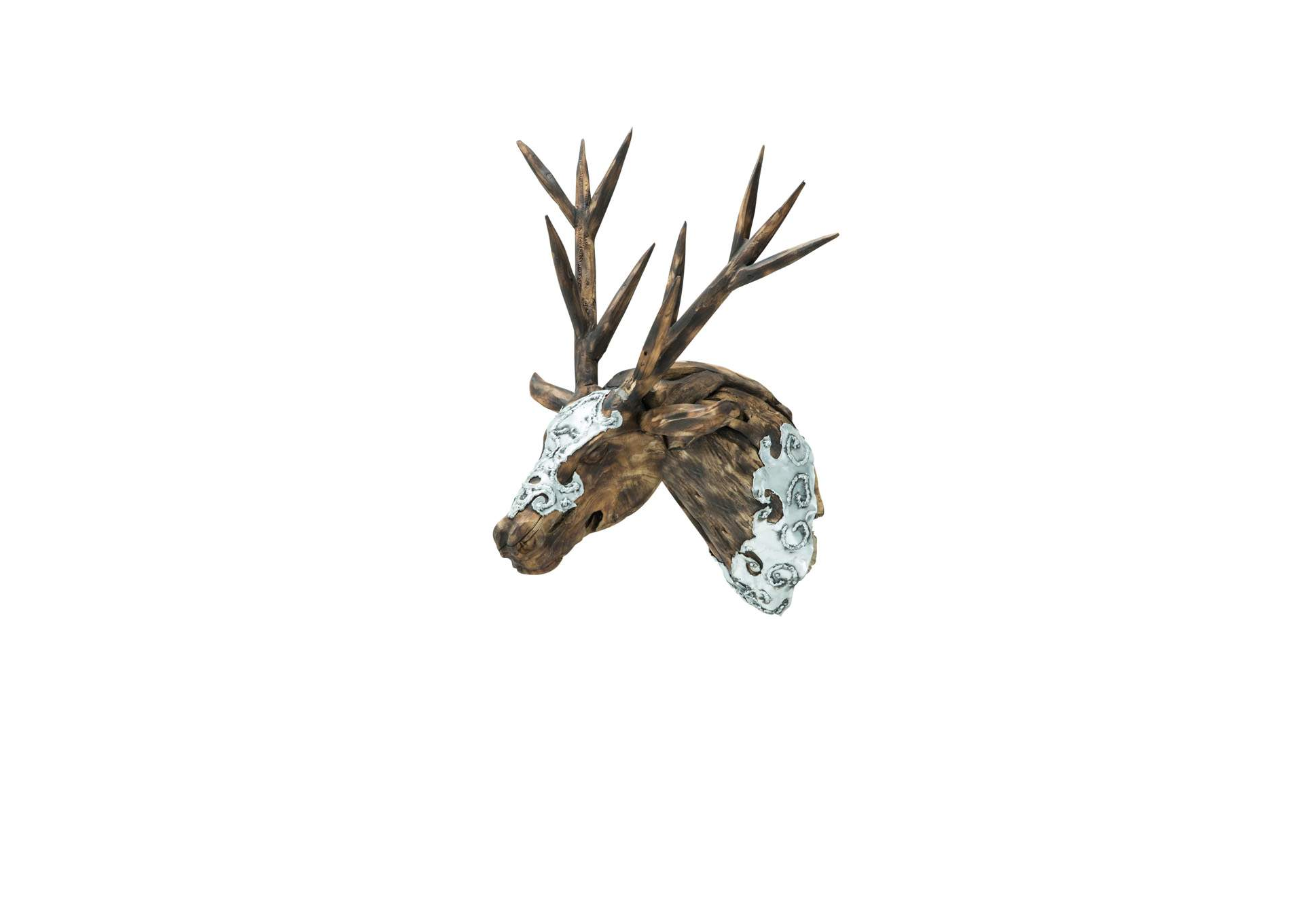 Discoveries Brown Dear Head w/Wood Antlers & Hand Applied Aluminum,AICO