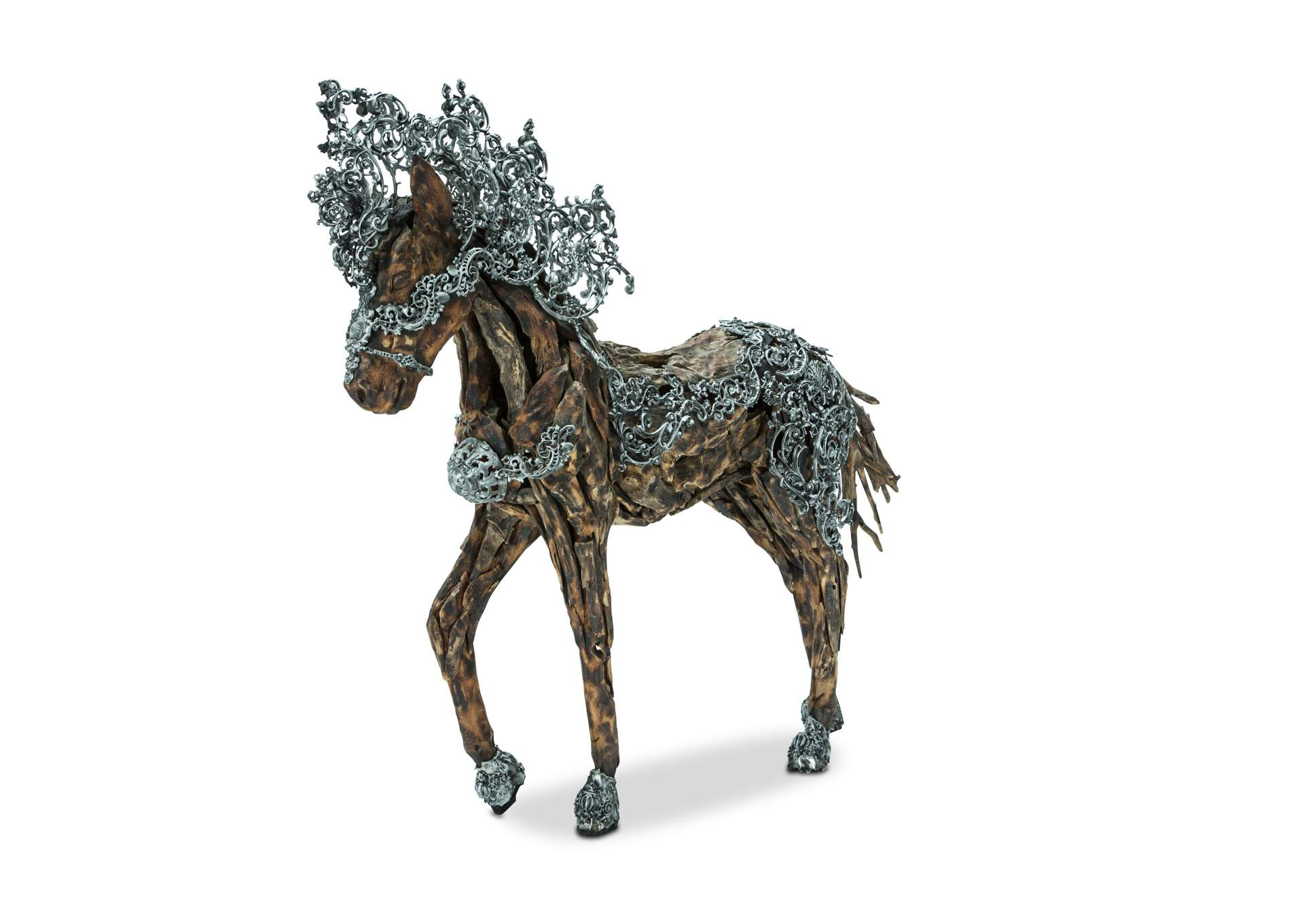 Wood Crafted Horse W/AluminumBody Coat, Detailed Scroll Mane,AICO