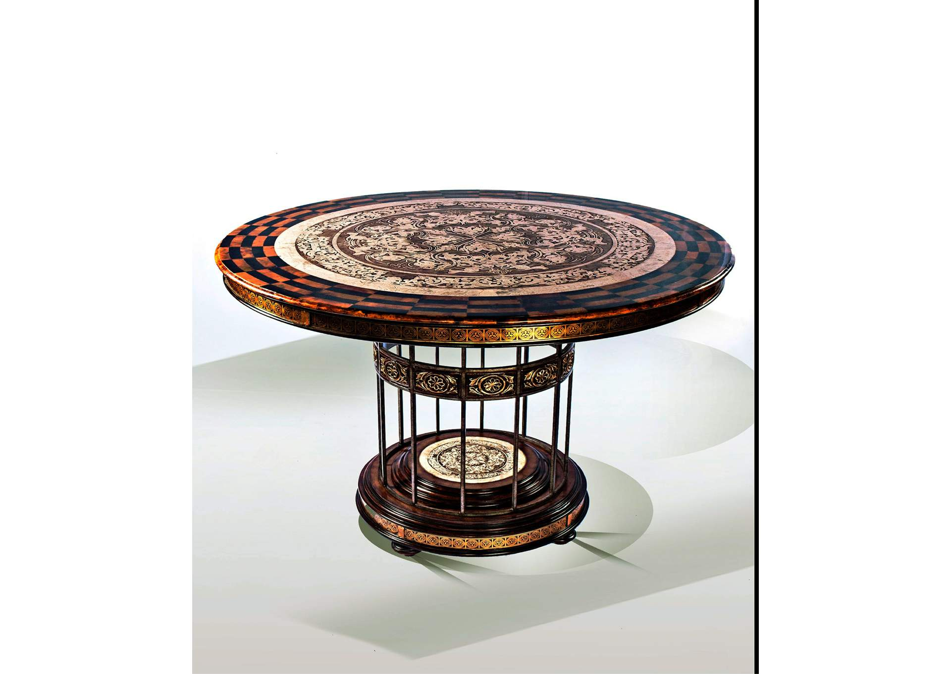 nulook furniture discoveries round stone etched entry table w metal base