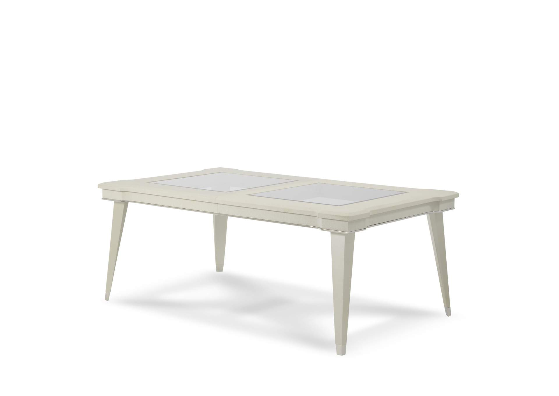 Beverly Blvd Pearl Caviar 4 Leg Dining Table w/Glass Inserts,AICO