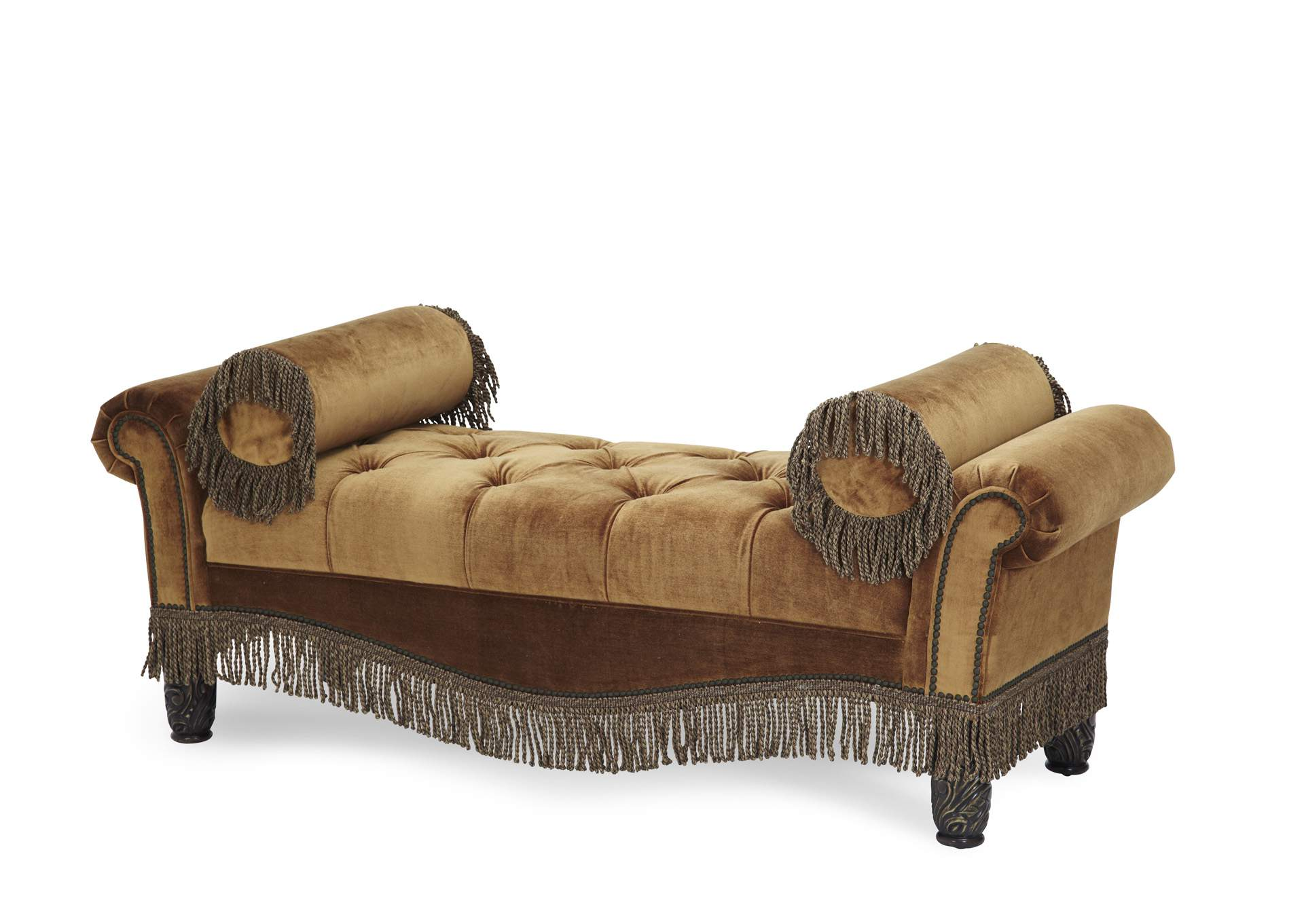 Essex Manor Deep English Tea Upholstered Tufted Two Arm Bench - Opt1,AICO
