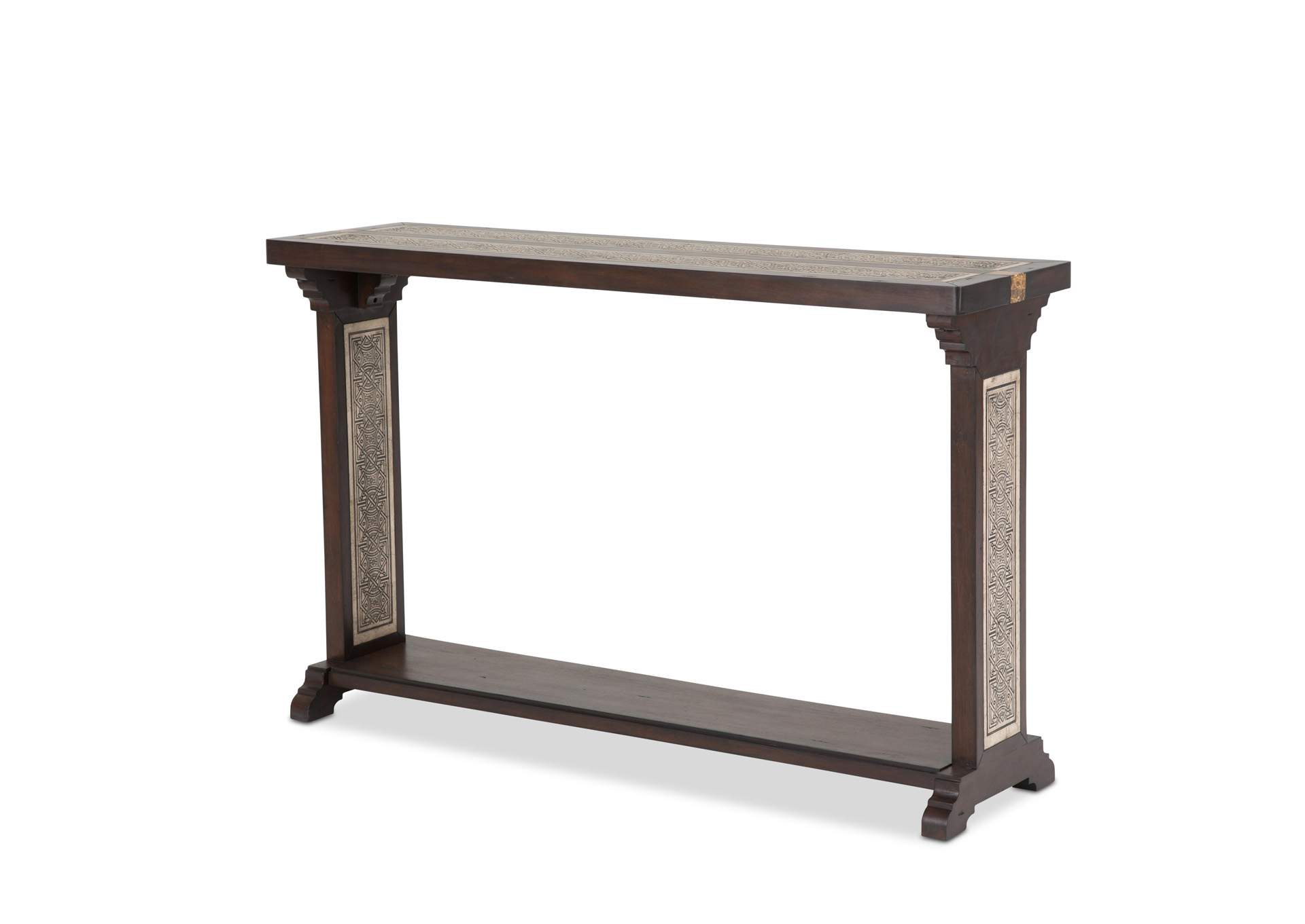 Brown Console Table w/Stone Etched Inlay,AICO