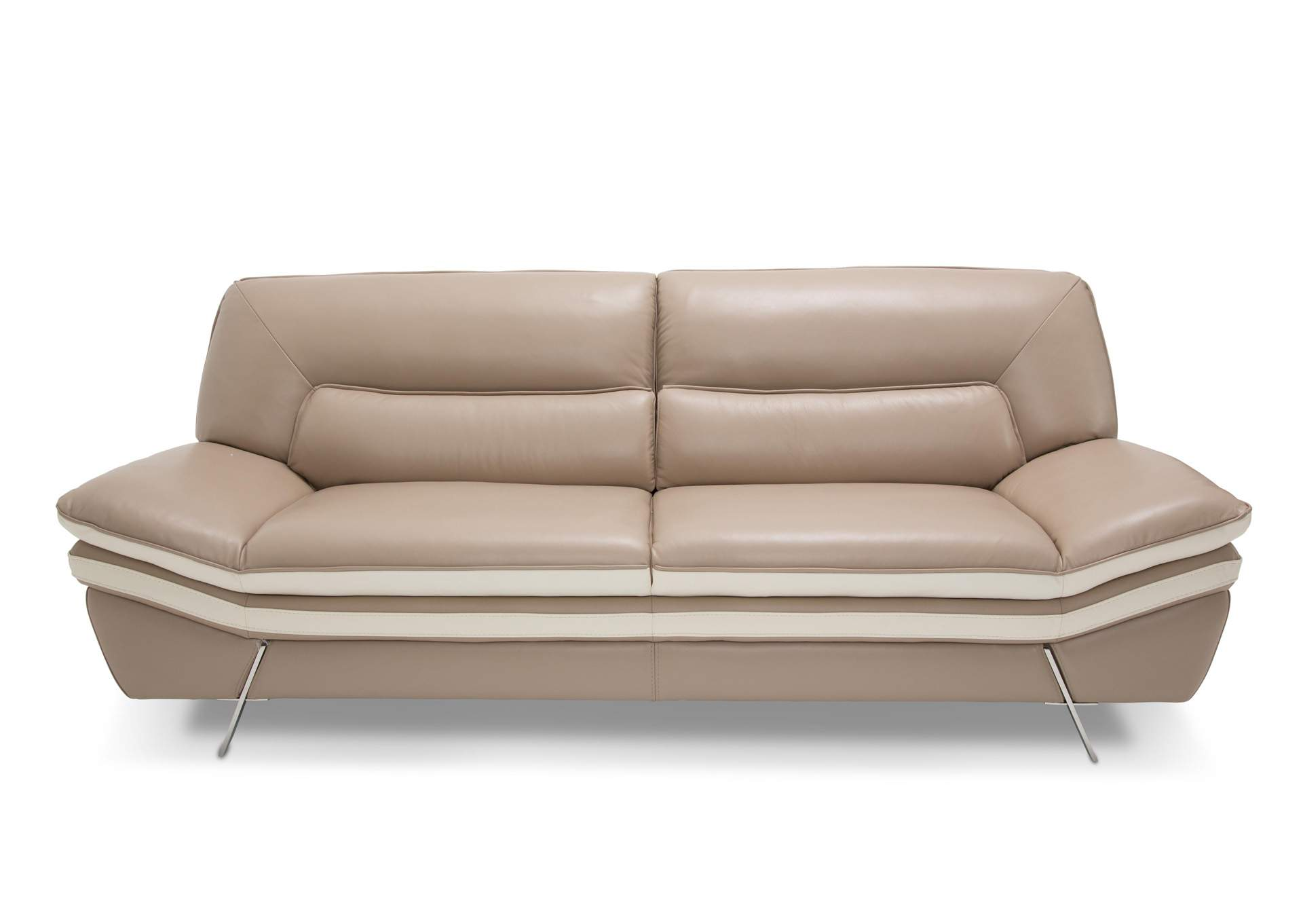 Carlin Taupe Leather Sofa W/Stainless Steel Legs,AICO