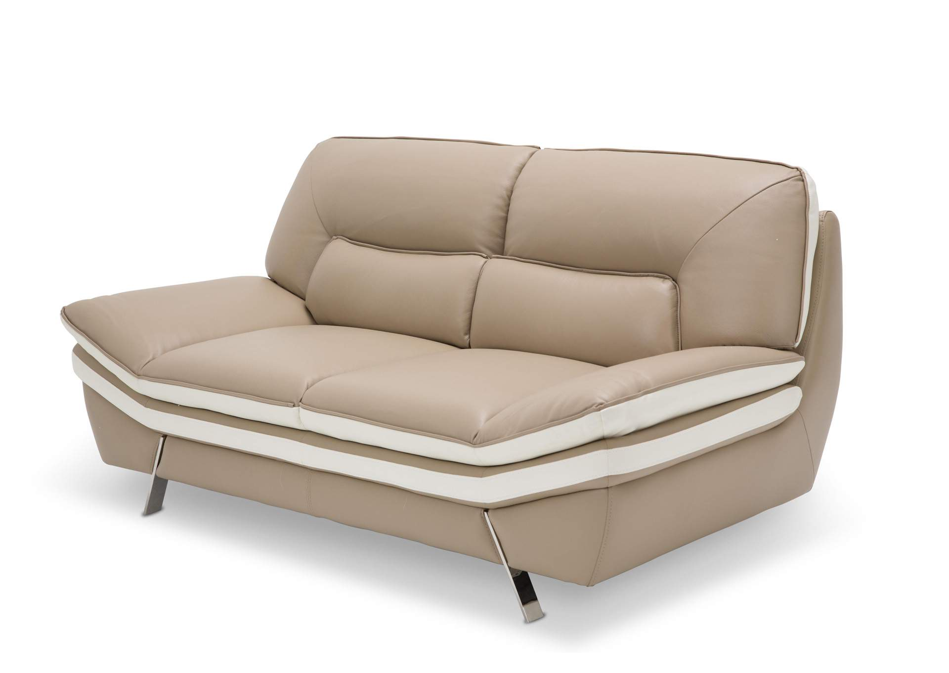 V Watts Furniture Carlin Taupe Leather Loveseat W Stainless Steel Legs