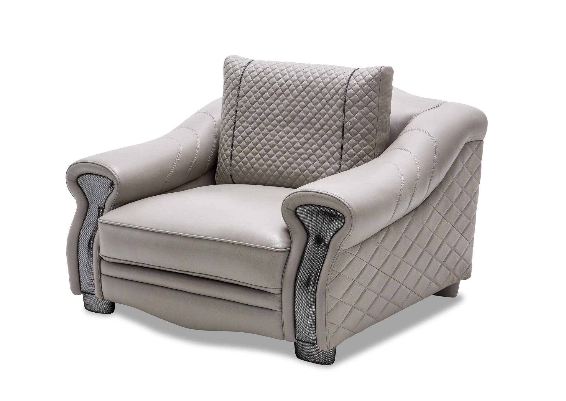 Gabriella Light Grey Leather Chair And A Half,AICO