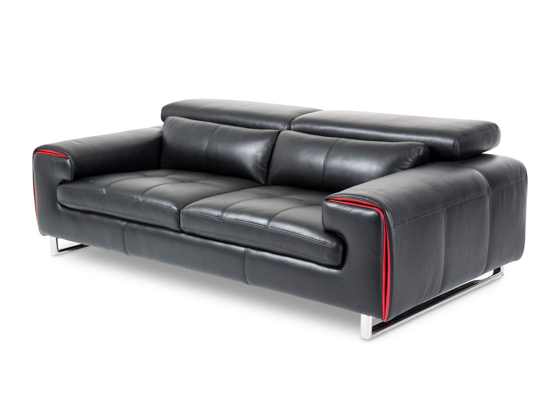 NuLook Furniture Magrena Black Leather Sofa w/Red St. Steel
