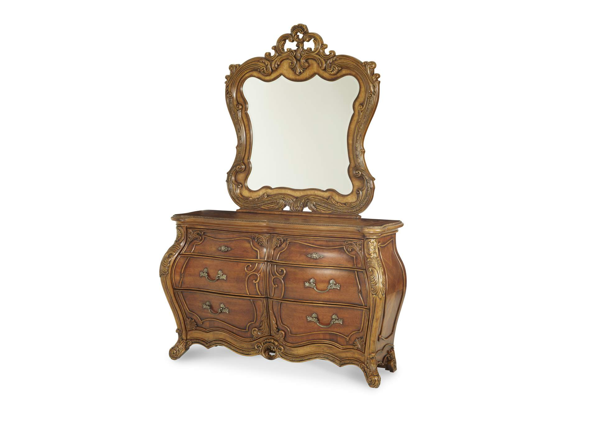 Delicieux Palais Royale Rococo Cognac Double Dresser U0026 Mirror (2 Pc),AICO