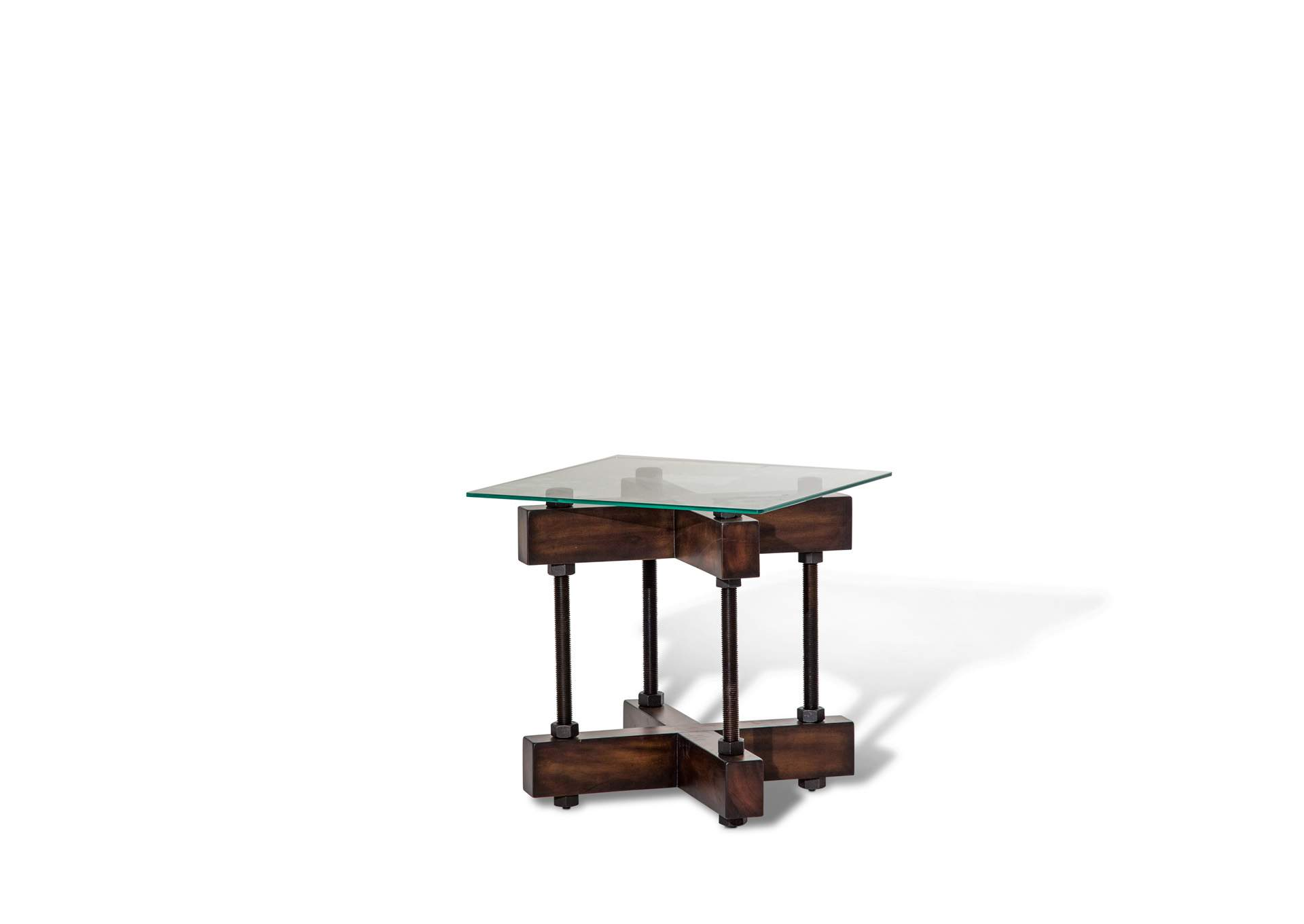 Brown Glass Top End Table,AICO