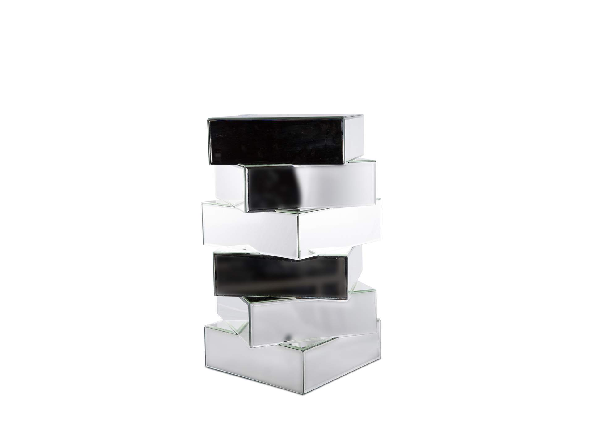 Montreal White & Black Mirrored Stacking Blocks End Table,AICO