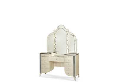 Hollywood Swank Crystal Croc Upholstered Vanity & Mirror