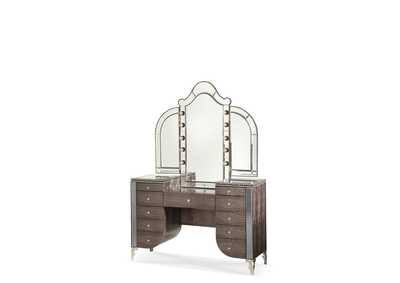 Hollywood Swank Amazing Gator Upholstered Vanity & Mirror