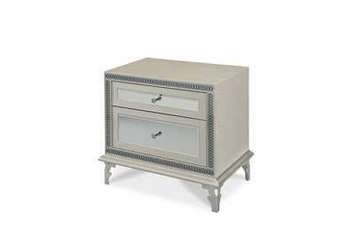 Image for Hollywood Swank White Crystal Croc Upholstered Nightstand