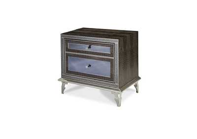 Image for Hollywood Swank Black Crystal Croc Upholstered Nightstand