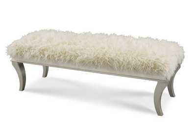 Hollywood Swank Platinum Faux Sheepskin Bed Bench