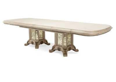 Platine de Royale Champagne Rectangular Dining Table w/Leaf