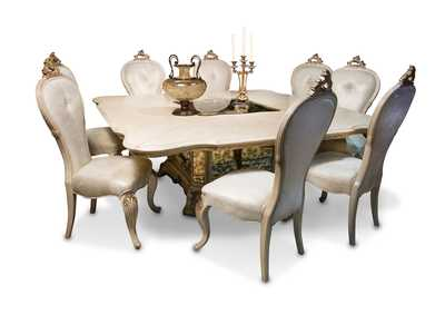 Platine de Royale Champagne Square Glass-Insert Dining Table Set w/6 Side Chairs