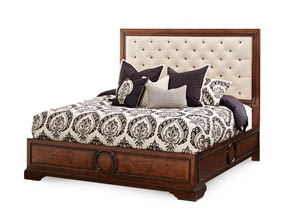 Bella Cera Queen Panel Bed w/Fabric Tufted Headboard