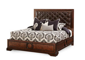 Bella Cera Queen Panel Bed w/Leather Tufted Headboard