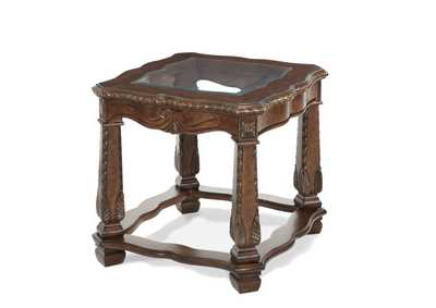 Image for Windsor Court Vintage Fruitwood End Table W/ Glass Inlay