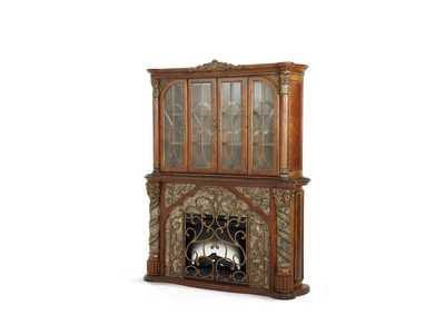 Villa Valencia Classic Chestnut Fireplace & Multi Media Cabinet w/Doors (3 Pc)