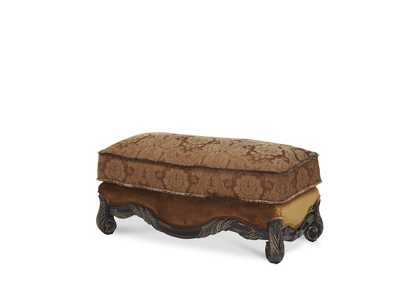 Essex Manor Deep English Tea Wood Trim Ottoman - Opt1