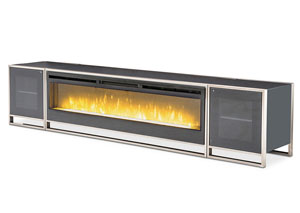 Metro Lights Midnight Metal TV Console/Fireplace w/Fireplace Insert and R/L Cabinets (4 pc)