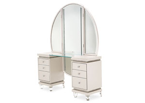 Image for Glimmering Heights Ivory Upholstered Vanity & Mirror (2 Pc)