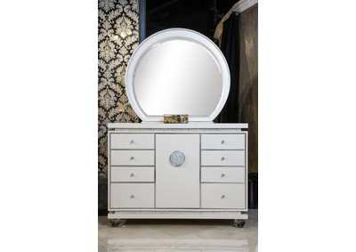 Glimmering Heights Ivory Upholstered Dresser and Mirror (2 Pc)