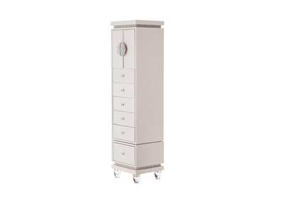 Glimmering Heights Ivory Upholstered Swivel Lingerie Chest