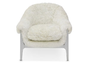 Image for Glimmering Heights Ivory Faux Fur Upholstered Arm Chair